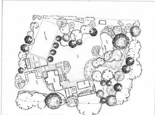 Landscaping Wellington concept design sketch landscape aerial view